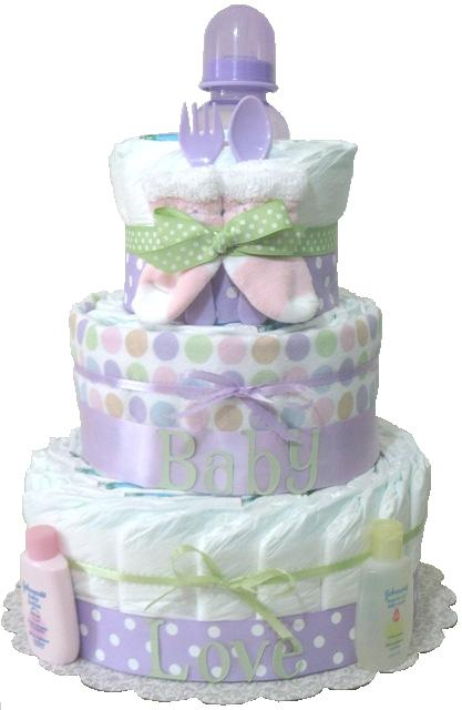 Baby Gift Nappy Cake : Baby gift diaper cake lavender shower new